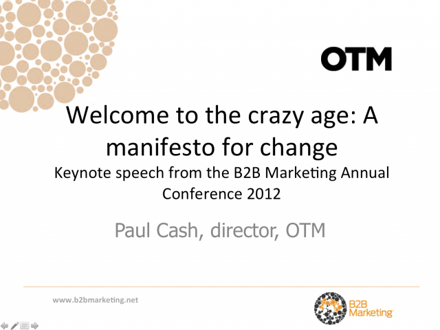 Welcome to the crazy age: A manifesto for change