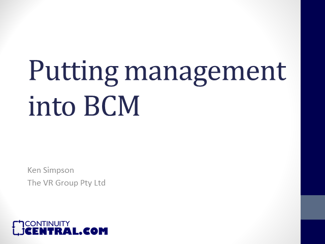 Putting 'management' into BCM