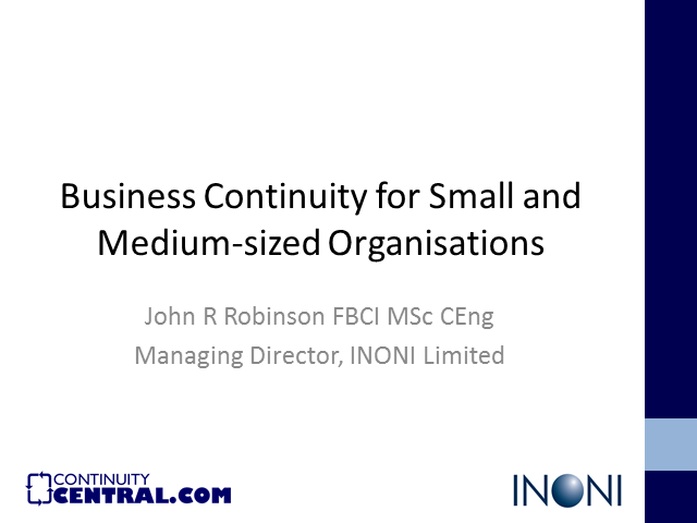 Business continuity planning in a small / medium sized business