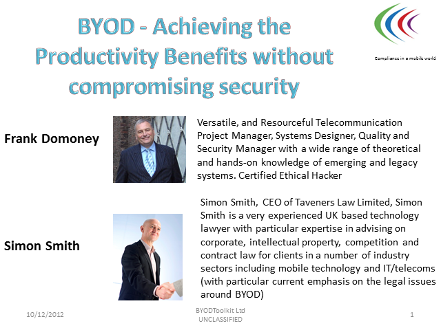 Achieving the Productivity Gains of BYOD without compromising security