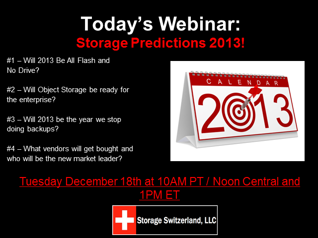 Storage Predictions 2013