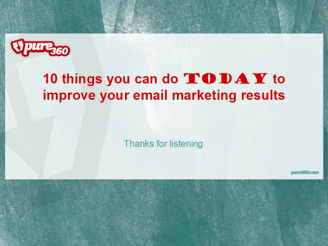 Ten things to do today to improve your email marketing