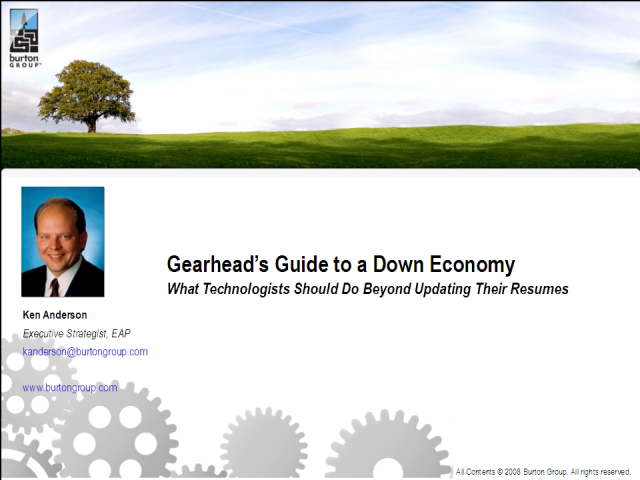 Gearhead's Guide to a Down Economy: what a technologist should do