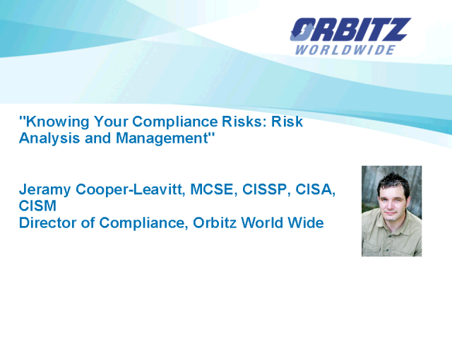 Knowing Your Compliance Risks: Risk Analysis and Management
