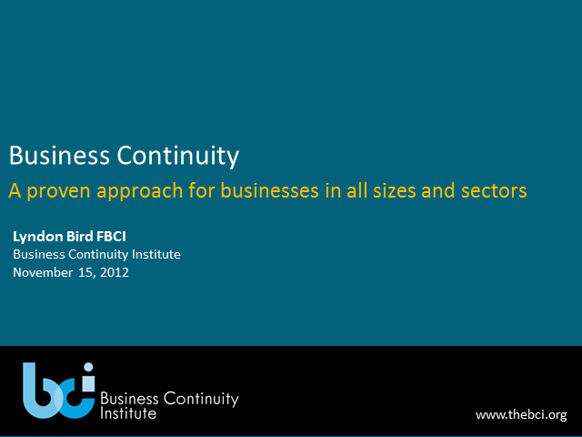Business Continuity - An Approach for All Size and Sectors
