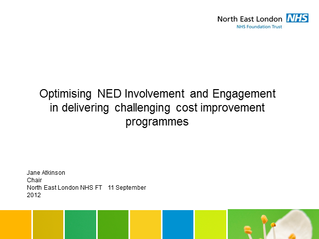 Optimising NED involvement in CIP delivery