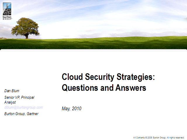Cloud Security Questions & Strategies