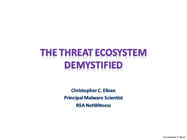 The Threat Ecosystem Demystified