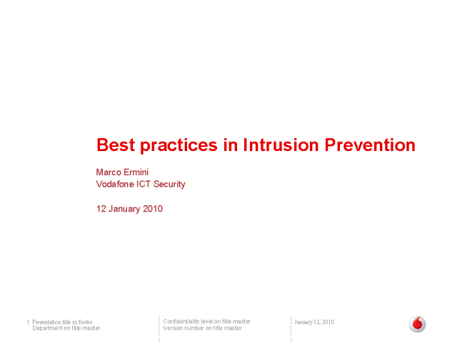 Best Practices: Intrusion Prevention Systems