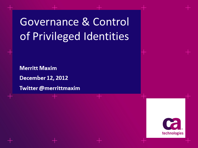 Governance and Control of Privileged Identities