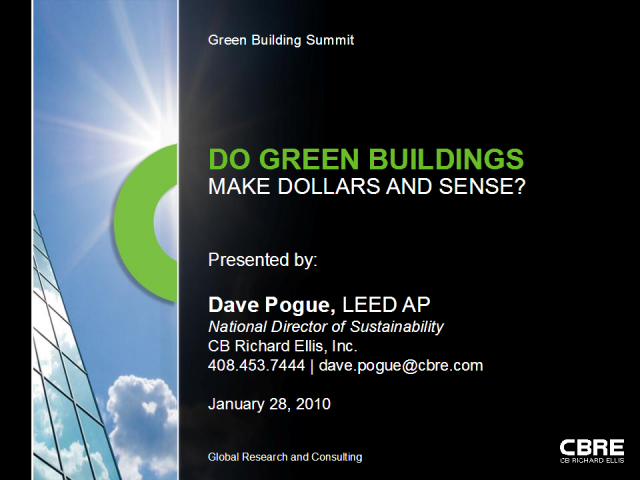 Do green buildings make dollars and sense?