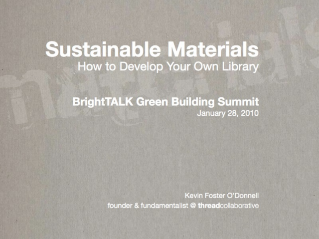Sustainable Materials: How to Develop Your Own Library