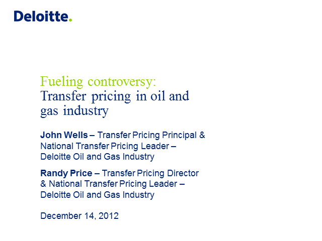 Fuelling Controversy: Transfer Pricing in Oil & Gas Industry