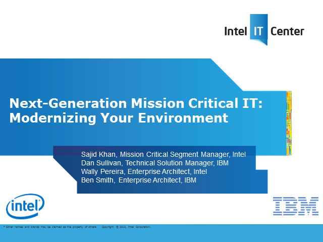 Next-Generation Mission Critical IT: Modernizing Your Environment