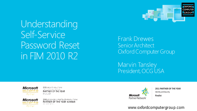 FIM 2010 R2: Understanding Self-Service Password Reset