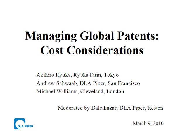 Cost Management Practices for Global Patent Portfolios