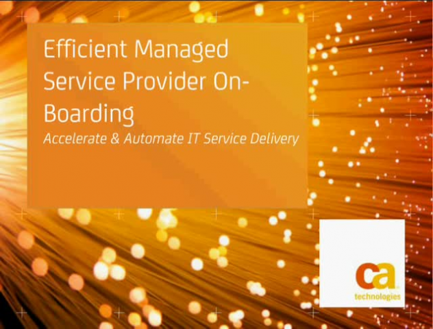 Efficient Managed Service Provider On-boarding