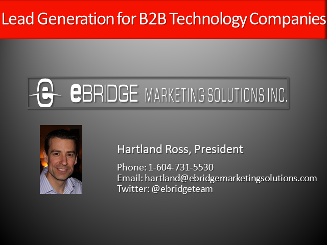 What are your Lead Generation Options as a B2B Technology Company