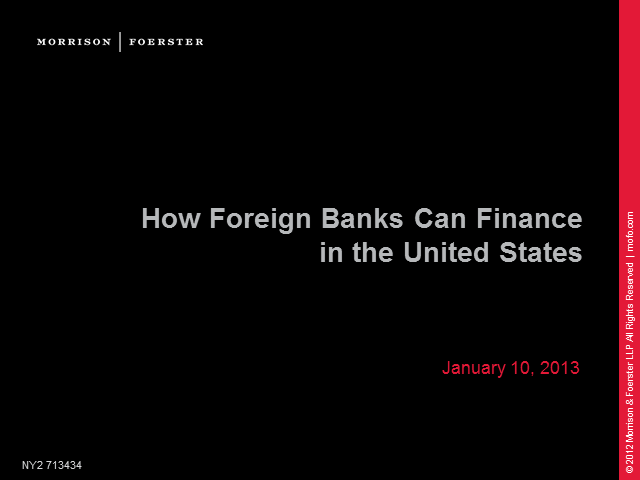 How foreign banks can finance in the US