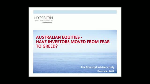 Australian Equities – Have investors moved from fear to greed