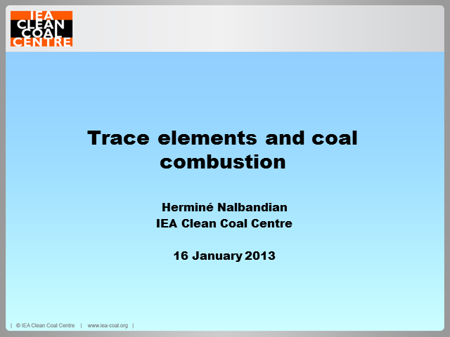 Trace element emissions from coal