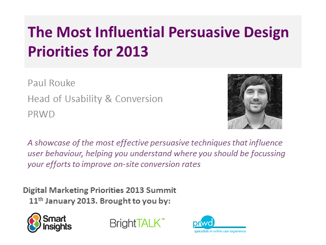 The most influential Persuasive Design priorities for 2013