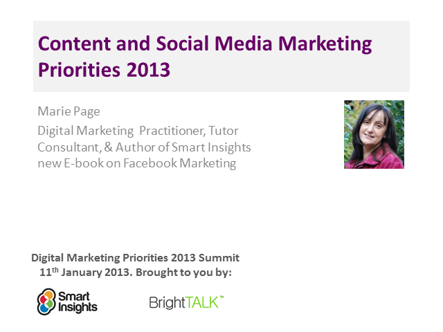 Content and Social Media Marketing Priorities 2013