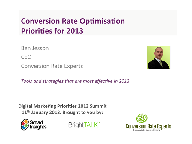 Conversion Rate Optimisation Priorities for 2013