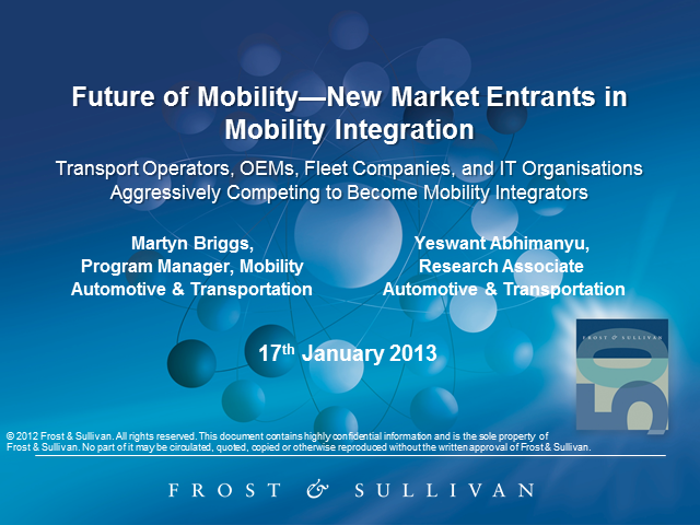 Future of Mobility - New Business Models, Opportunities and Market Entrants