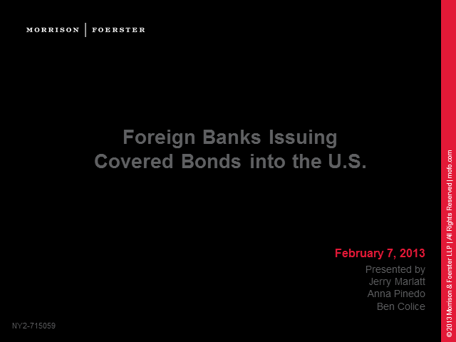 Offering covered bonds in the US