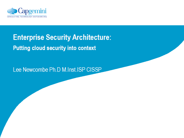 Enterprise Security Architecture: Cloud Security into Context