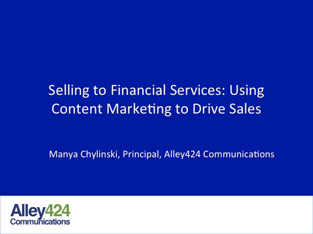 Selling to Financial Services: Using Content Marketing to Drive Sales