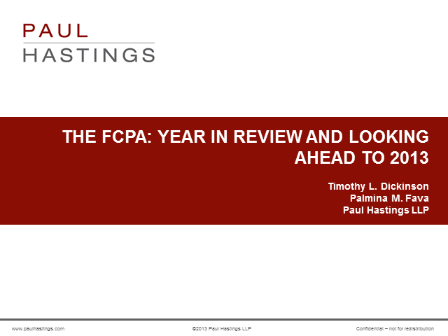 FCPA Year in Review