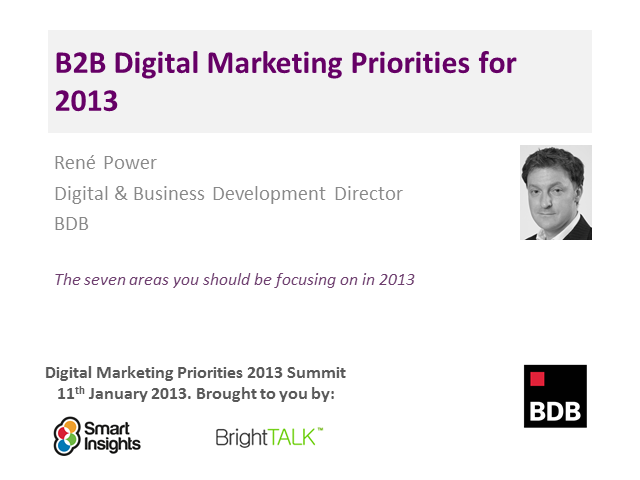 B2B Digital Marketing Priorities for 2013
