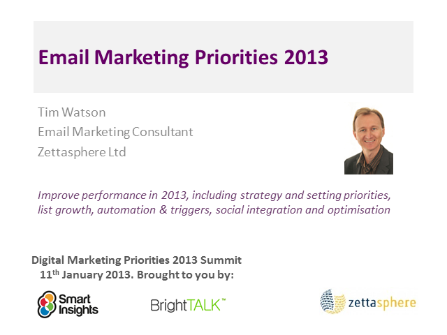 Email Marketing Priorities 2013