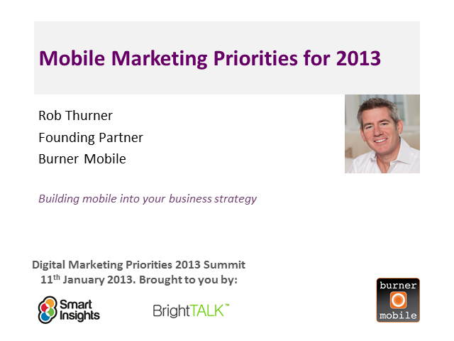 Mobile marketing priorities for 2013