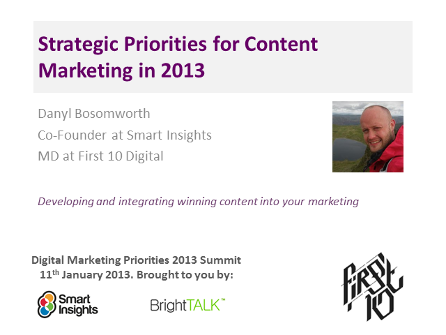 Content marketing priorities for 2013