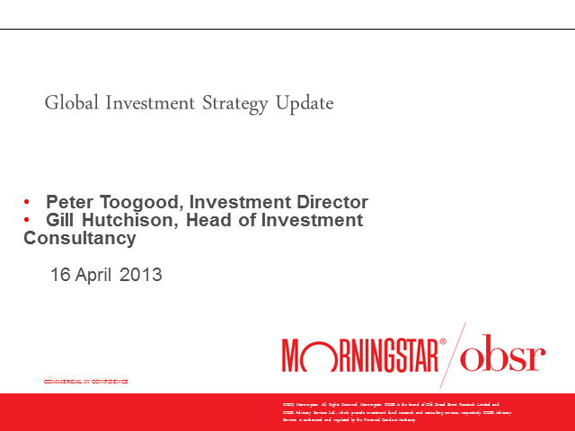 Global Investment Strategy Update