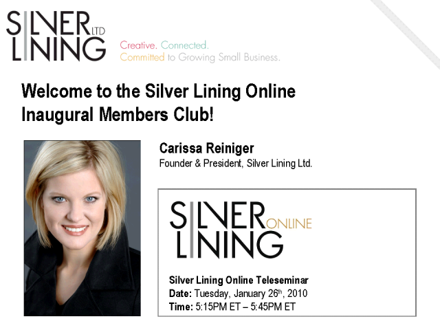 Silver Lining Online Inaugural Members Club - Welcome