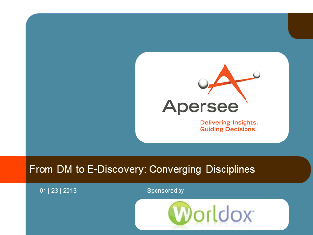 From DM to E-Discovery: Converging Disciplines