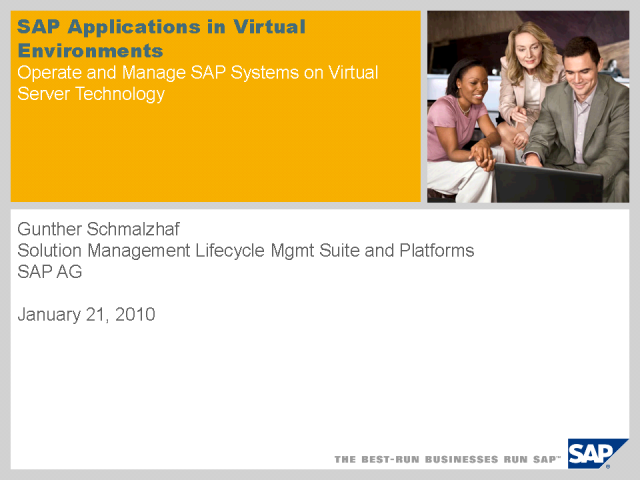 SAP Applications in Virtual Environments
