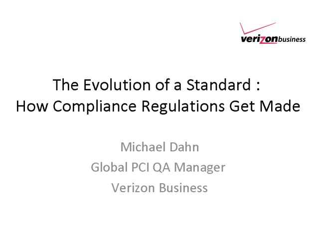 The Evolution of a Standard : How Compliance Regulations Get Made