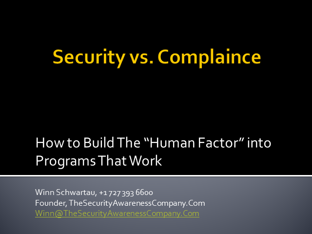 Security vs. Compliance: The Human Factor