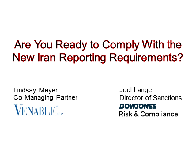 Are You Ready For The Deadline To Comply With The Iran Reporting Requirements?