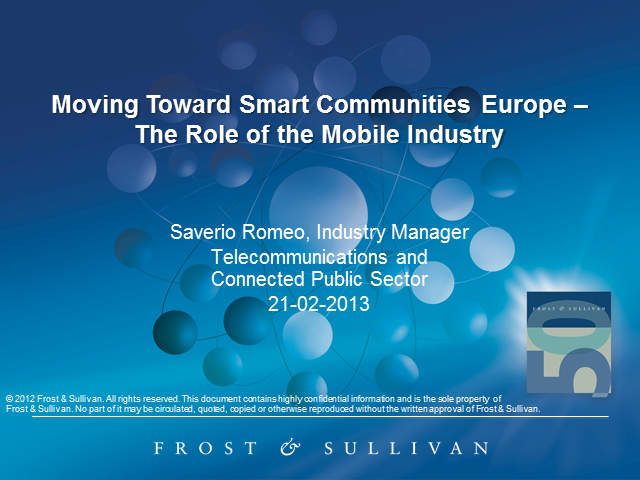 Moving Toward Smart Communities in Europe – The Role of the Mobile Industry
