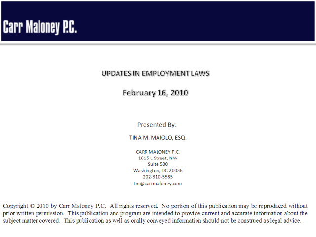 Recent Updates in Employment Law