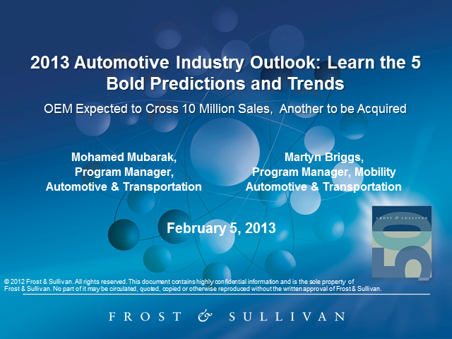 2013 Automotive Industry Outlook: Learn the 5 Bold Predictions and Trends