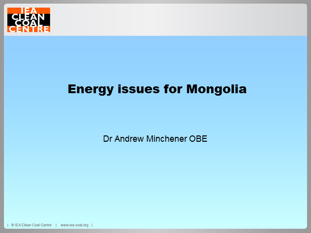 Energy issues for Mongolia