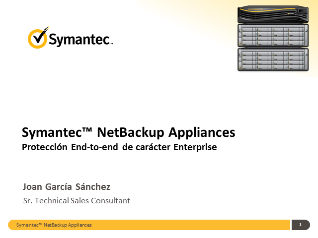 "Webcast comercial para Partners ""Netbackup Appliance"""