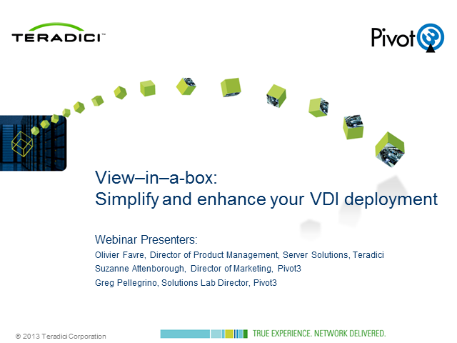'View-in-a-box':  Simplify and enhance your VDI deployment